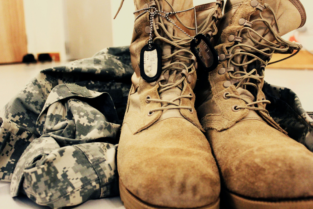 dog tags military uniform and combat boots