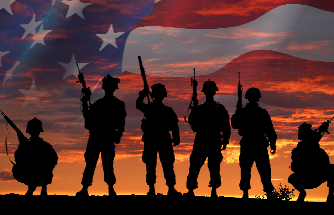 military personnel with american flag background