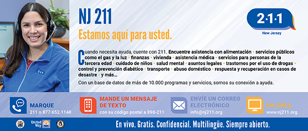 NJ 211 Panel Card Spanish Side