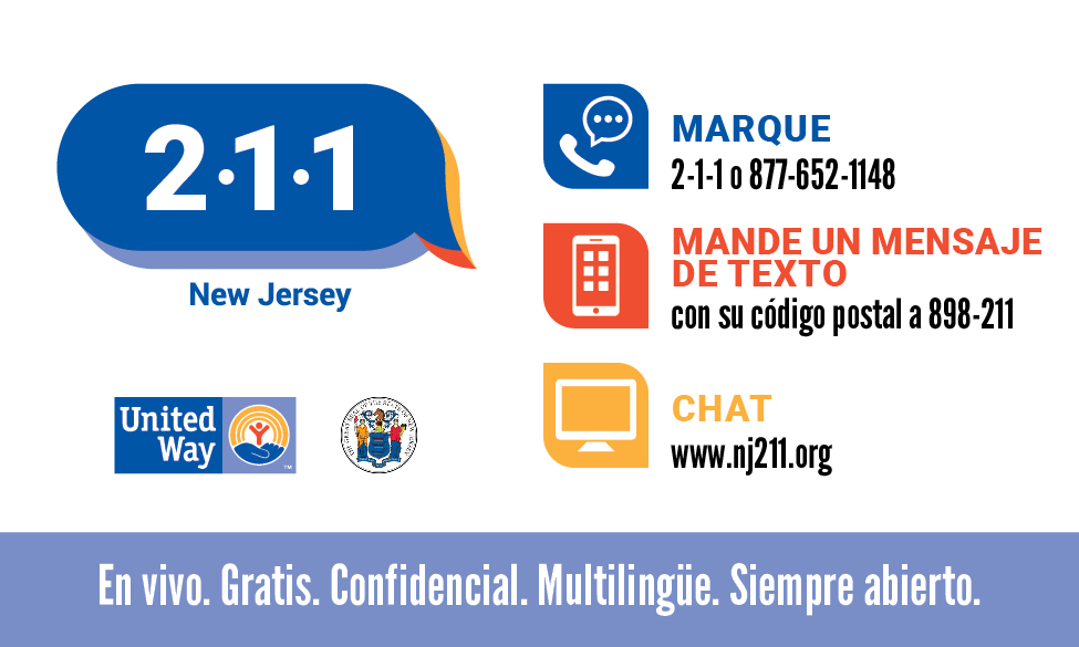 NJ 211 wallet card in spanish